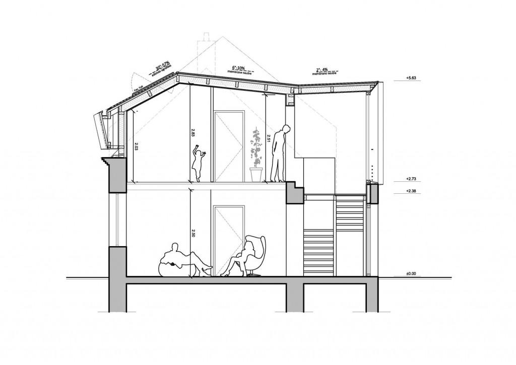 Sur l vation d 39 une maison coupe de principe clip architecture - Plan de coupe de maison ...